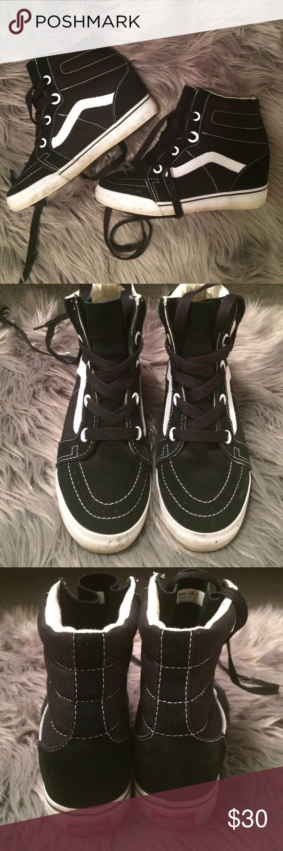 """Vans Sk-8 hi Sneaker Wedges Vans sneaker with 3"""" wedge heel. Very comfortable. Sole is slightly dirty which could be cleaned but no other noticeable wear. Comes with white shoe laces. Vans Shoes Sneakers"""
