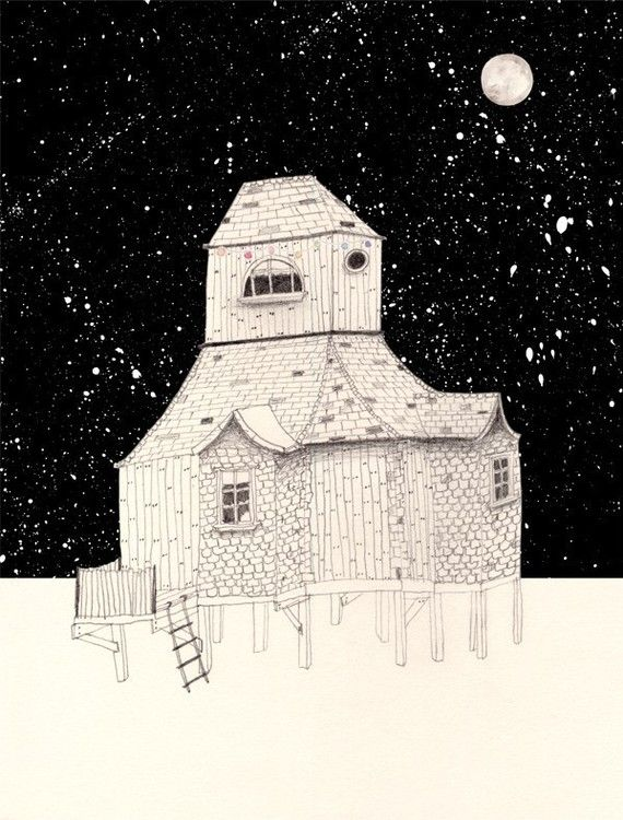 """Night House"" print by Amy Borrell"