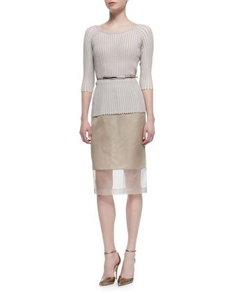 Pleated Stripe 3/4-Sleeve Sweater & Slim Skirt with Organza Overlay/Leather Prong Belt by Lafayette 148 New York at Neiman Marcus.