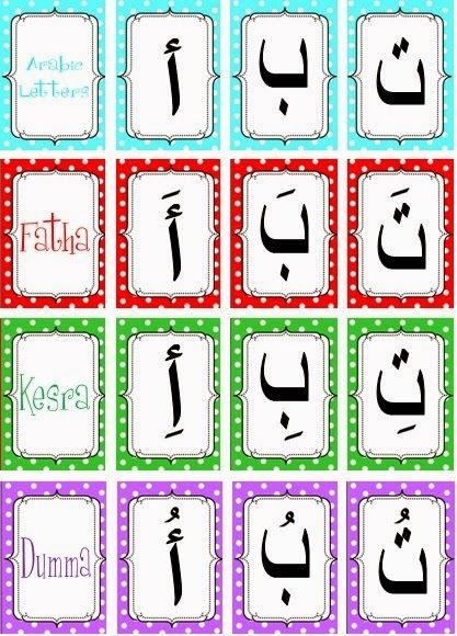 fun free arabic alphabet cards with harakat. Black Bedroom Furniture Sets. Home Design Ideas