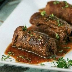 Rouladen are German meat rollups with onions, mustard, bacon, and  pickles, all wrapped up in thin beef slices and then cooked. This dish  ...