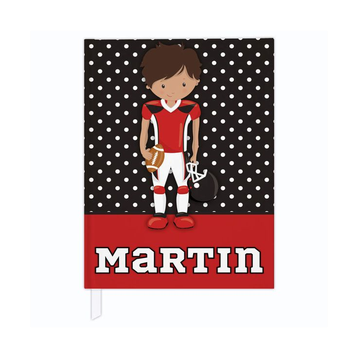 Hardcover journal in football theme, personalized kids journal, lined journal or blank journal, football gifts - red & black/brown skin by PaperKKids on Etsy