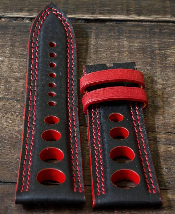 Handmade racing/rally sports leather strap. Fits panerai and