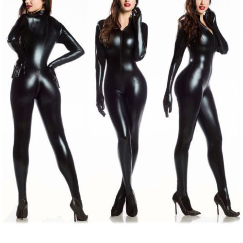 Sexy-Women-Vinyl-PVC-Wetlook-Leather-CATSUIT-CLUBWEAR-Bodysuit-Motor-Jumpsuit