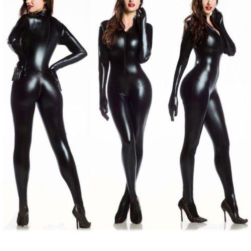 Sexy-Women-Vinyl-PVC-Wetlook-Leather-CATSUIT-CLUBWEAR-Bodysuit-Motor-Jumpsuit