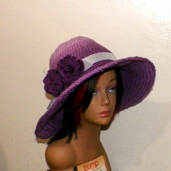 b6c2261e7ab Purple Sun Hat Beach Summer Wide Brimmed Garden Hippie Floppy Boho Crochet  Straw Hat Inspired Womens