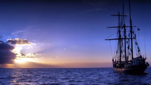 moře, horizont, fregata, západ slunce