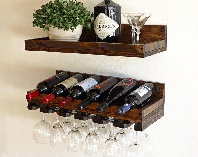 Rustic Wood Wine Rack Wine Shelf Wine Bottle Holder Stemware Glass Holder Wine Organizer Bar Shelf Wall Mounted Wine Glass Rack Bastidores De Vino Rústicos Estantes De Vino Mueble Para Vino