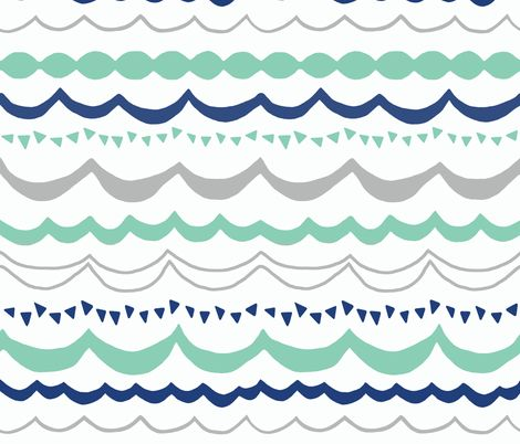 Carnival in Mint, Navy and Gray fabric by sparrowsong on Spoonflower - custom fabric