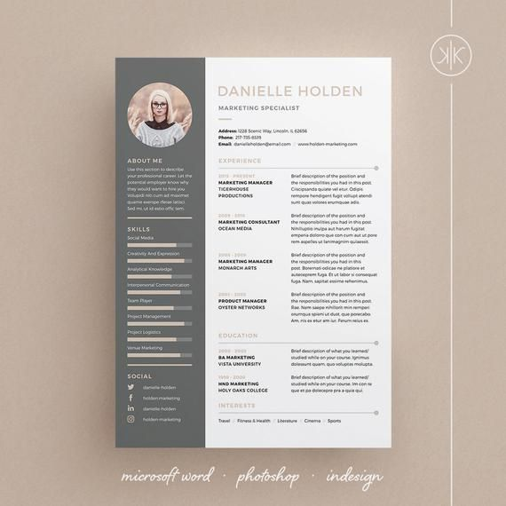 Danielle Resume Cv Template Word Photoshop Indesign Professional Resume Design Cover Letter Resume Design Cv Template Word Resume Design Template