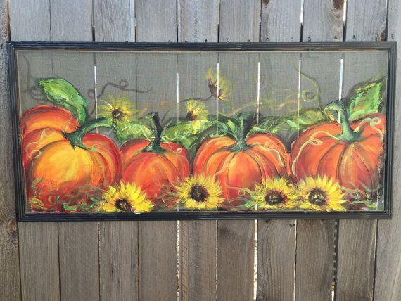 Fall decor  pumpkin on old window screen  by RebecaFlottArts