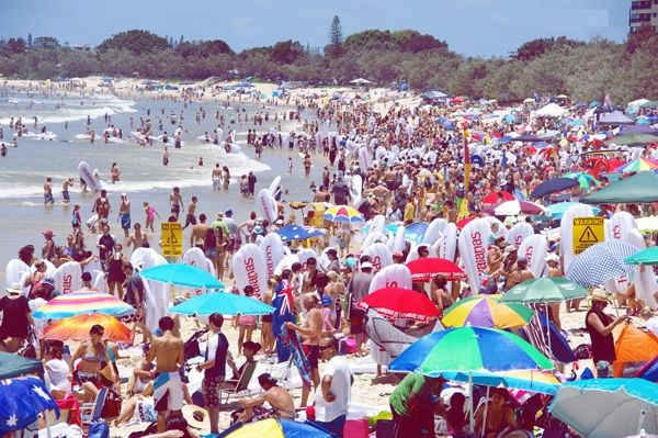 The beach of Australia at Australia Day
