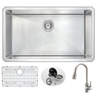 ANZZI Vanguard Undermount Stainless Steel 32-inch 0-Hole Single Bowl Kitchen Sink With Sails Brushed Nickel Faucet