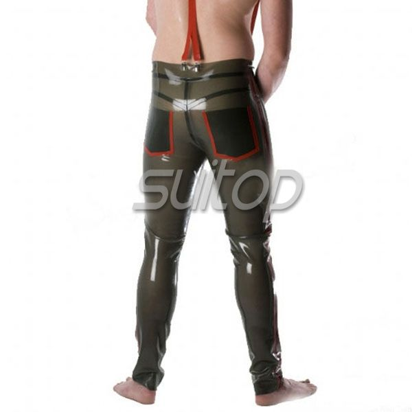 Men 's nature latex trousers  rubber garment pants for man semi transparent green smoking color