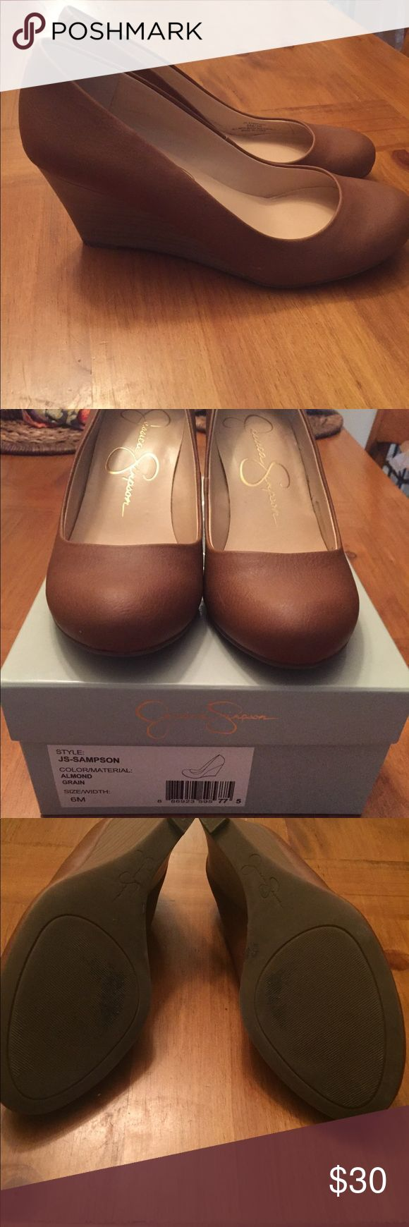 Jessica Simpson Sz 6 Brown Leather Wedges 2.5 inch wooden wedge heel with almond leather material. I have this exact shoe in black too! Only worn once (just like brand new). These can be dressed up or down with jeans— super cute! Jessica Simpson Shoes Wedges