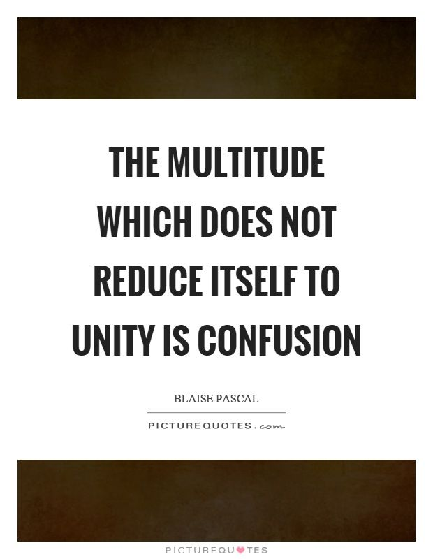 The multitude which does not reduce itself to unity is confusion. Picture Quotes.