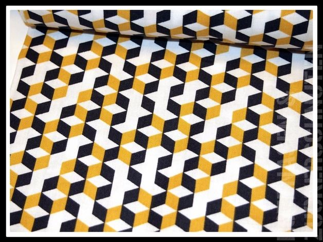 Toller Baumwollstoff für Taschen, Deko, Kleider, Röcke, Tücher und mehr  Motiv: Quader Quadrate Würfel Farbe: schwarz weiß mattes gelb senf / safran  Passende Kombistoffe und  Webbänder findet...