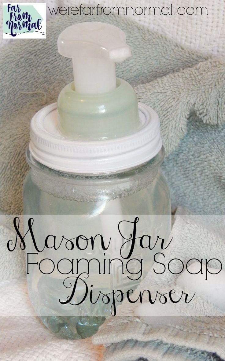 Diy mason jar foaming soap dispenser no tools required