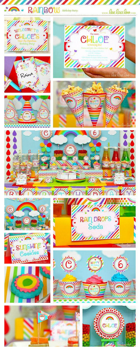 Rainbow Birthday Party Package Collection Set Mega Personalized Printable Design by leelaaloo.com || #rainbow #colorful #girl #birthday #party #theme #Leelaaloo