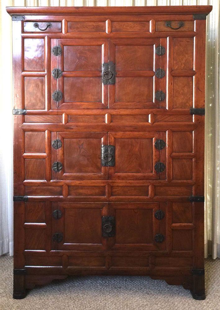 19th C. Antique Korean Three-Level Cabinet Tansu - Solid Elm Wood - Iron Pulls #TANSU #UNKNOWN