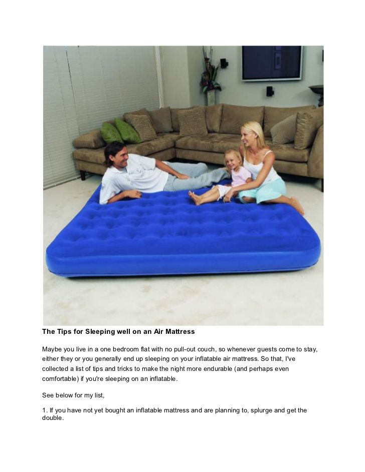 The Tips For Sleeping Comfortably On An Air Mattress