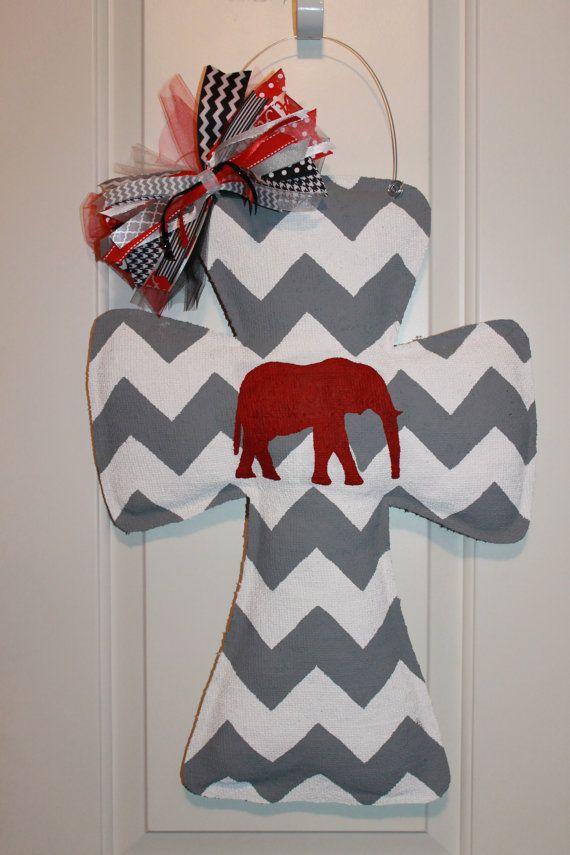 Gray and White Chevron Elephant Burlap by TrucksCreativeCrafts