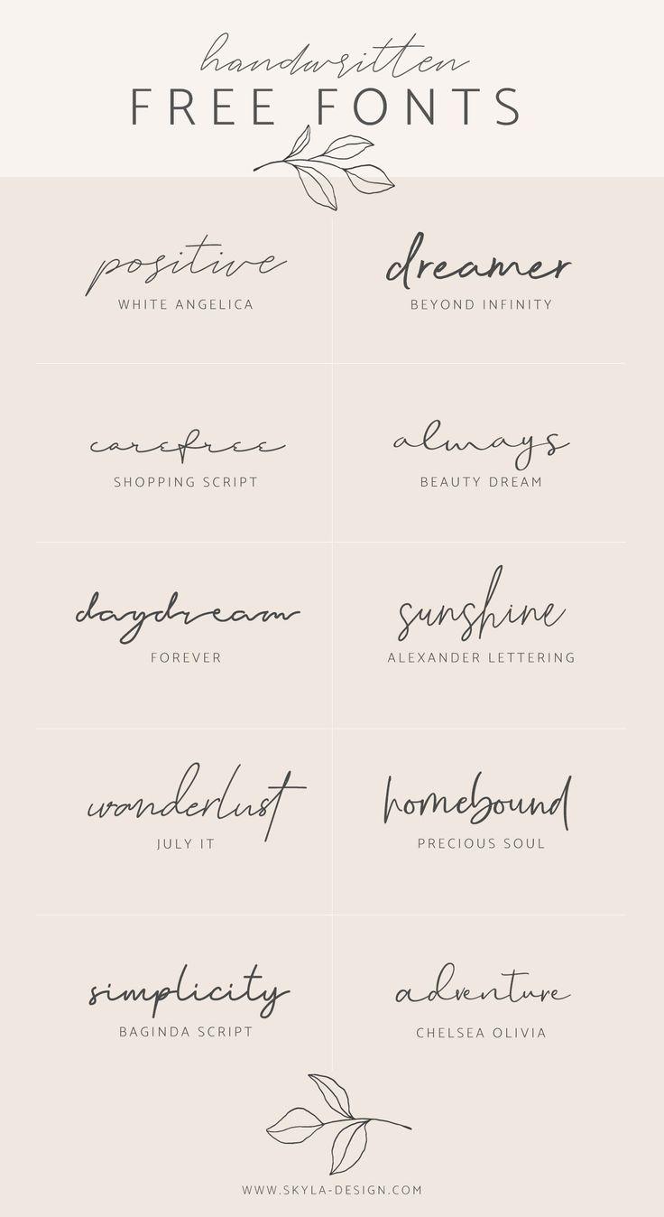 Handwritten free fonts | post by Skyla Design #fon…