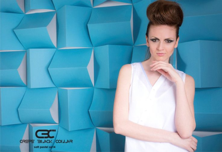 Cover photo for Crepe Black Collar SS2014 Soft Pastel collection. White Asymmetric shirt. Order via facebook, pm or e-mail.