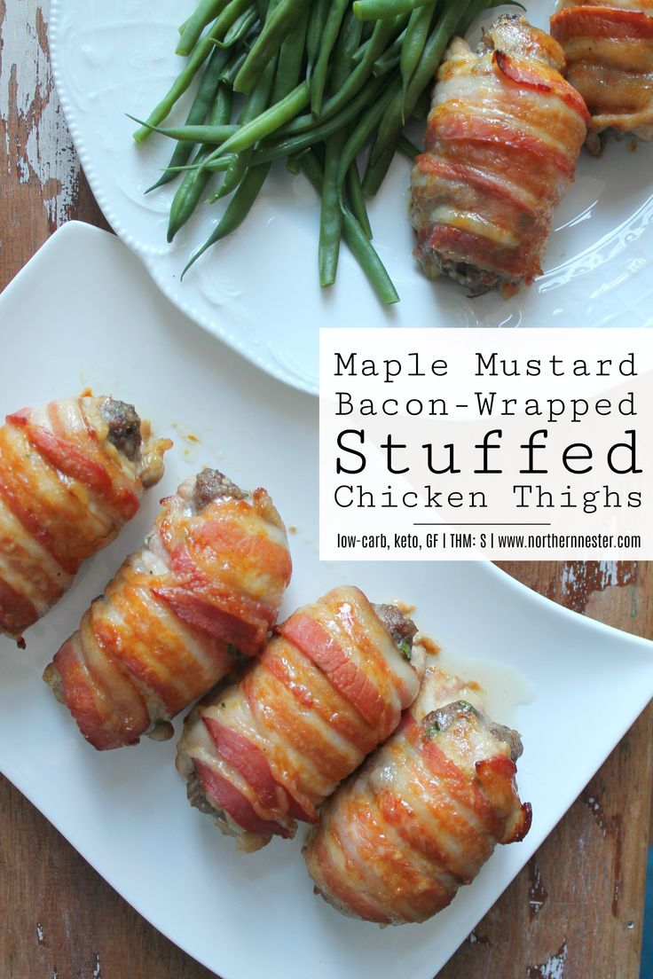 These impressive-looking Maple Mustard Bacon-Wrapped Stuffed Chicken Thighs are so easy to make and packed with good flavor! A low-carb, keto-friendly, THM S.