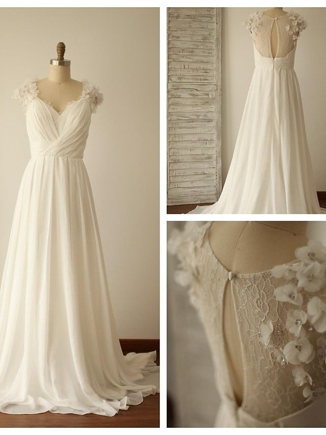 A-line Wedding Dress - Ivory Sweep/Brush Train V-neck Chiffon / Lace - USD $ 139.99