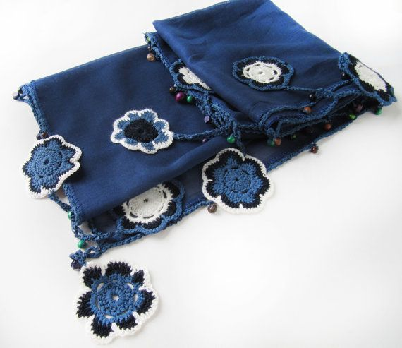Navy blue unique scarf made by bead and lace by SEVILSBAZAAR