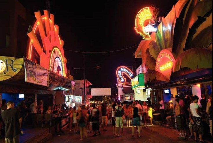 Kavos Bar Street Corfu Greece at Night