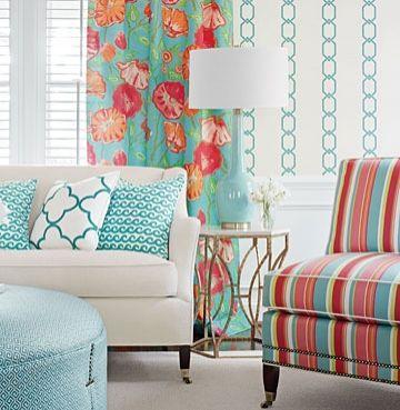 Brighton Stripe Fabric A colourful stripe fabric echoing a retro deckchair design in pink, aqua, lime and red.