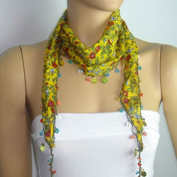 Yellow Beaded Scarf Necklace with Red Flowers by istanbuloya