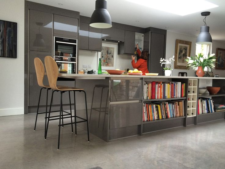 Large, modern extension to period property. Polished concrete floor, underfloor heating, high spec & contemporary © O2i Design Limited Sustainable Architecture & Design, O2i Design Ltd provides architectural services, designing innovative, award-winning and sustainable buildings.