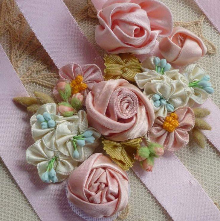 2158 best millinery ribbon flowers images on pinterest ribbon paint white pips aqua blues ribbon craftsflower mightylinksfo