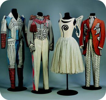 Giorgio de Chirico's costumes for 'Le Bal' (Ballets Russes, 1929) at the Diaghilev exhibition at the V&A.