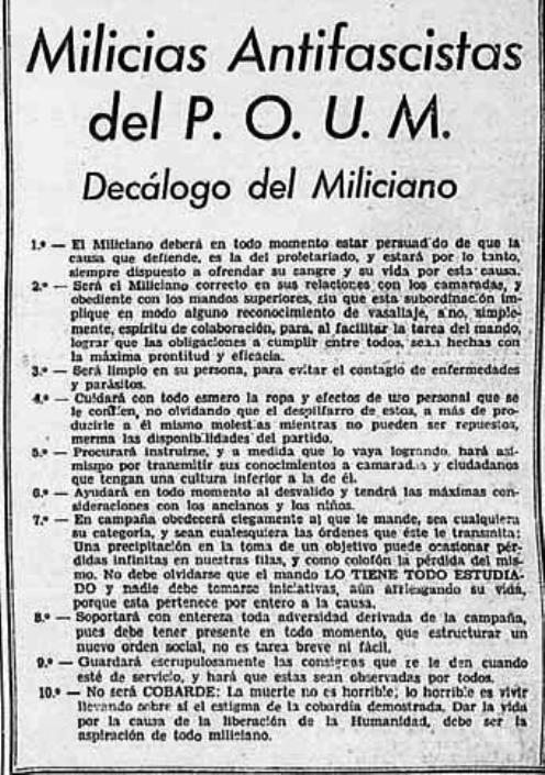 Decálogo del Miliciano. Milicias antifascistas del POUM