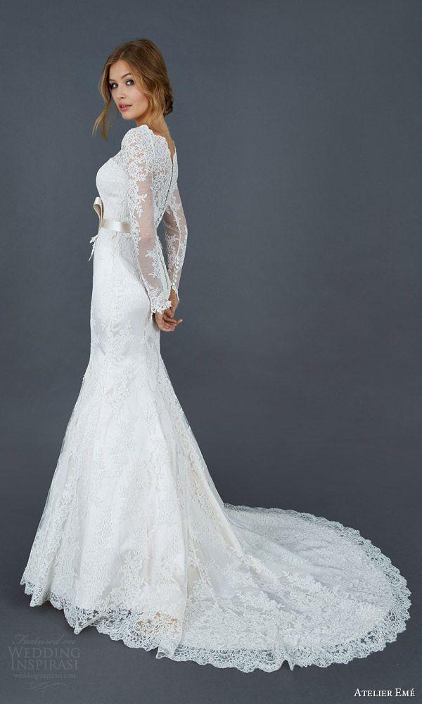 atelier eme 2016 paola long sleeve alencon lace trumpet mermaid wedding dress illusion neckline back view train