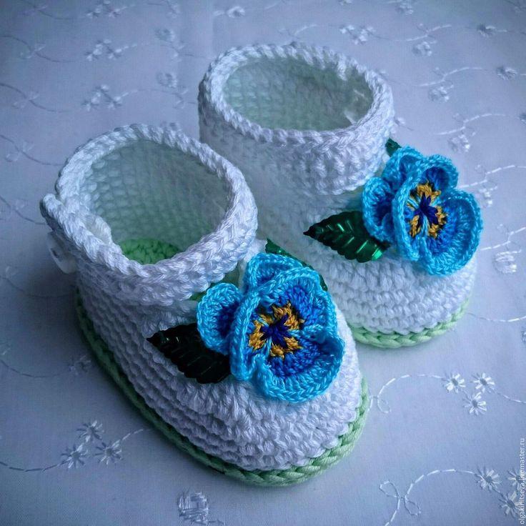 """Купить Пинетки вязаные """"Анютины глазки"""" - голубой, пинетки для новорожденных, пинетки для девочки, пинетки вязаные"""