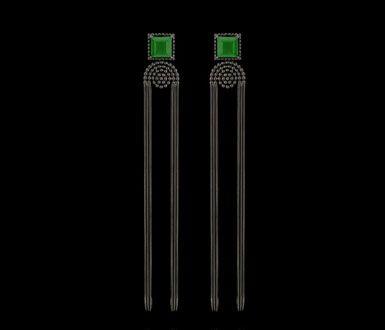 | Brinco Trindade  - Ouro negro com jade nefrita