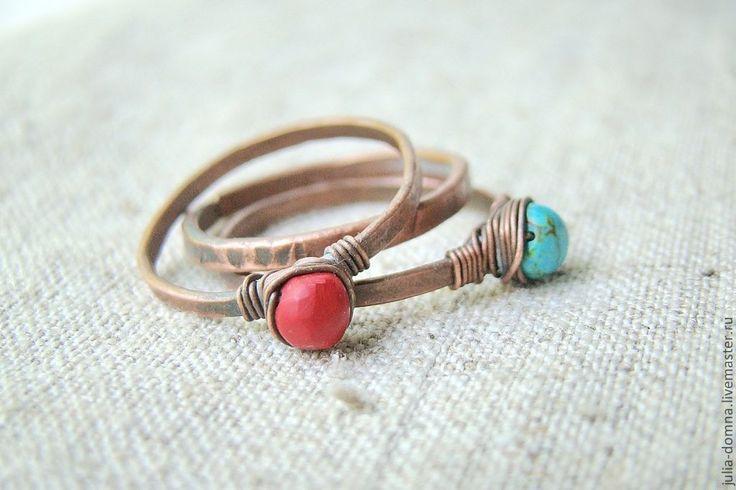кольца с бирюзой и кораллом - медные украшения,медное кольцо,подарок девушке