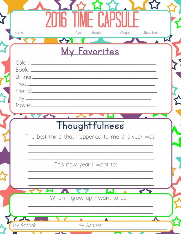 New Years Resolution & Time Capsule Worksheets and Activities for Kids - Tips from a Typical Mom