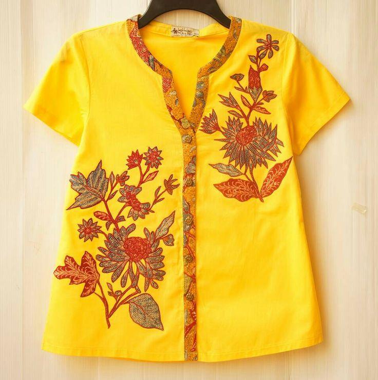 Indonesian batik blouse - yellow