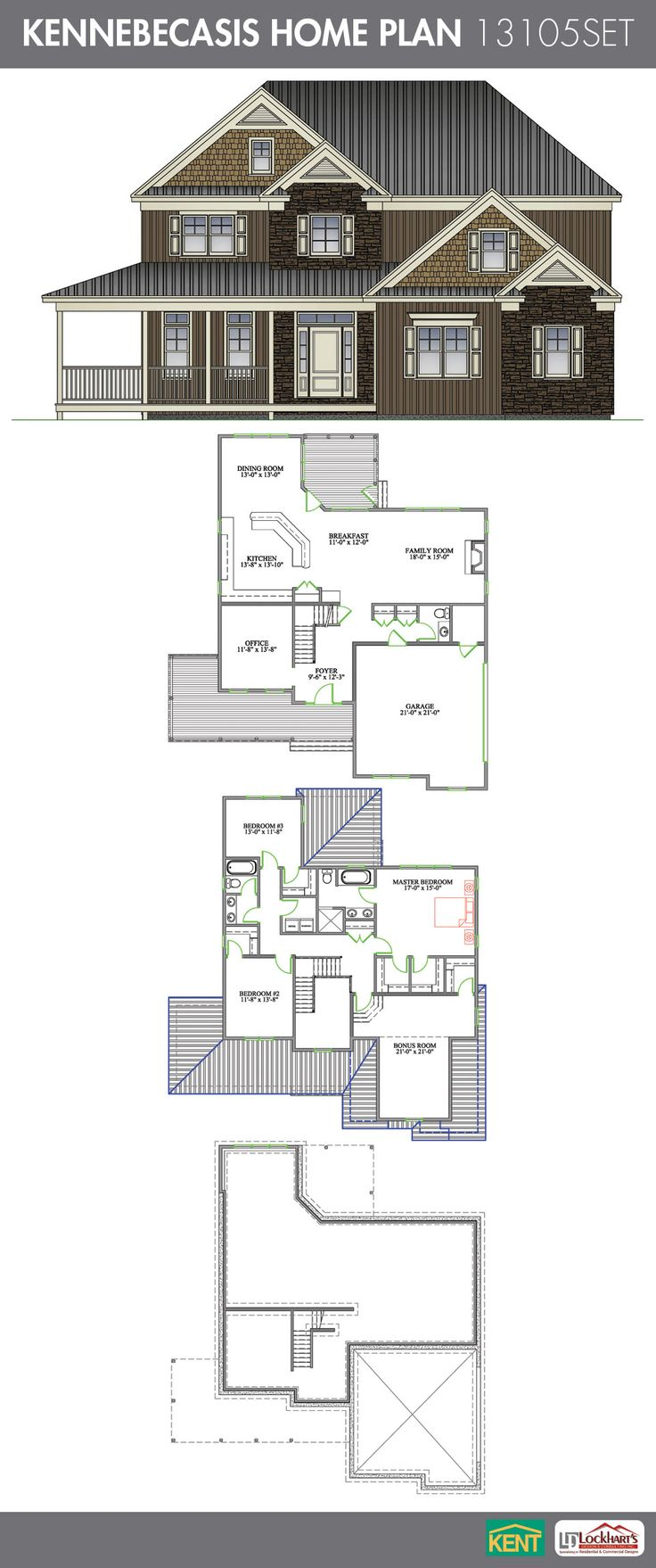 Kennebecasis 3 bedroom 2 1 2 bath home plan features for Garage plans with office