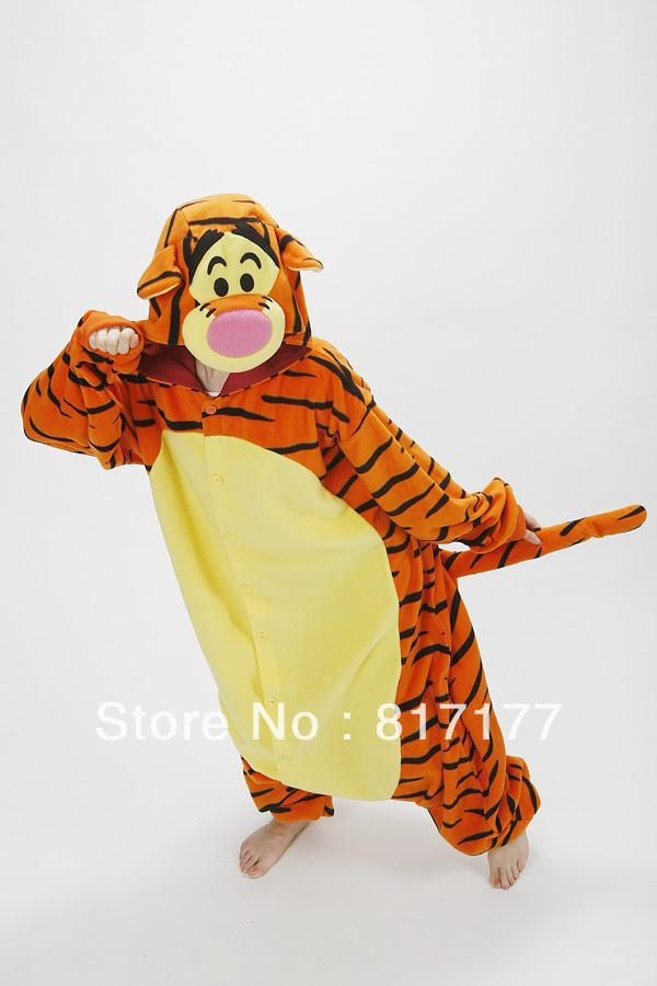 New Children Adult Fleece Animal Themed costumes Lovely Tiger Winter Pyjamas Pajamas Sleepsuit sleepwear Onesie-in Costumes from Apparel & Accessories on Aliexpress.com