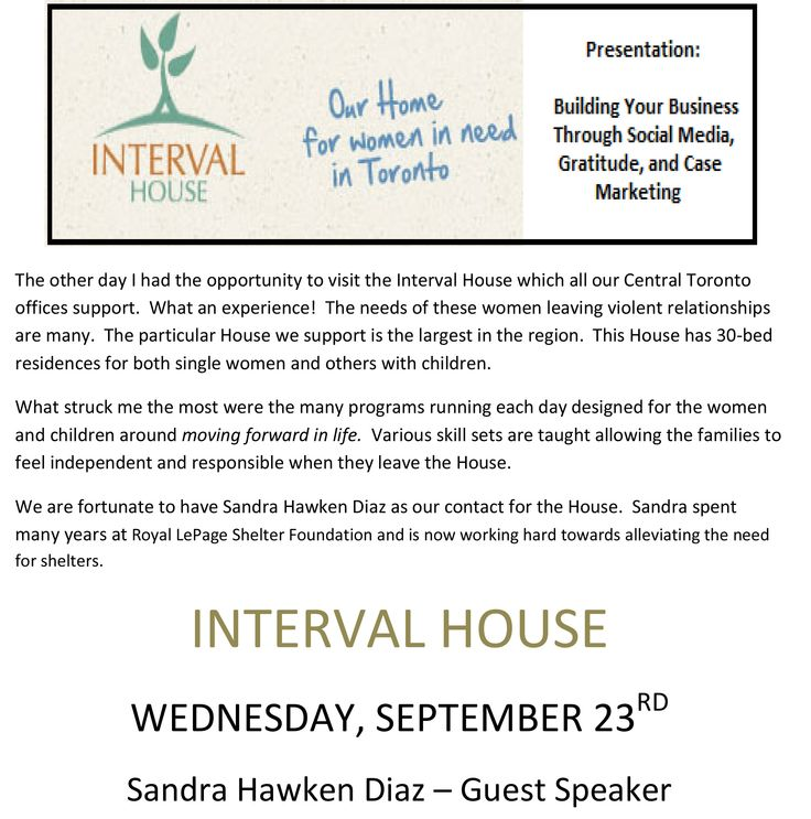 The Syrja Team will be at Interval House in support of Royal LePage Shelter Foundation. The Royal LePage Shelter Foundation is striving toward alleviating the need for shelters. https://www.facebook.com/syrjateam