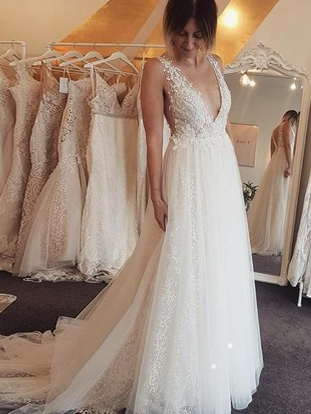 2a26a356c718 Ivory Beaded Lace Beach Wedding Dresses Backless A Line V Neck Bridal Dress  – SheerGirl