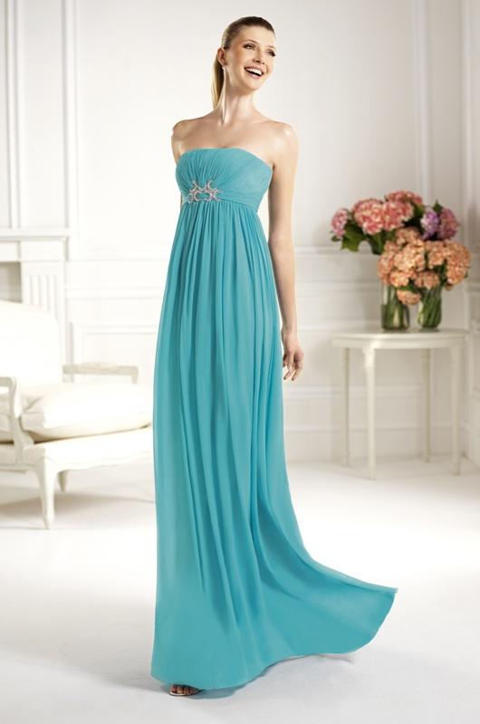 Vestido de novia palabra de honor en color turquesa de la colección 2013 de Pronovias (Modelo Canela)