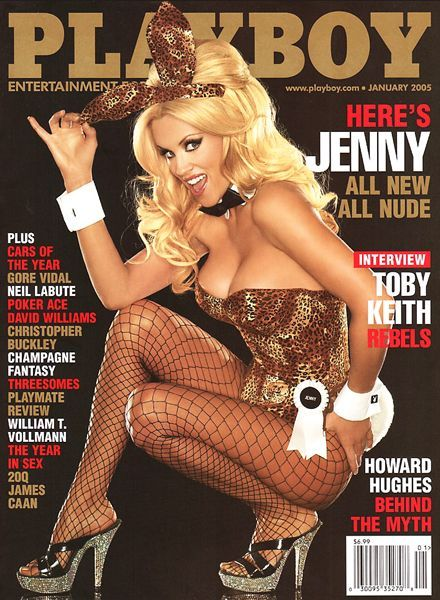 Jenny McCarthy on the cover of Playboy magazine's January 2005 issue; the leopard print identifies her as as a Beta Kitten/sex slave